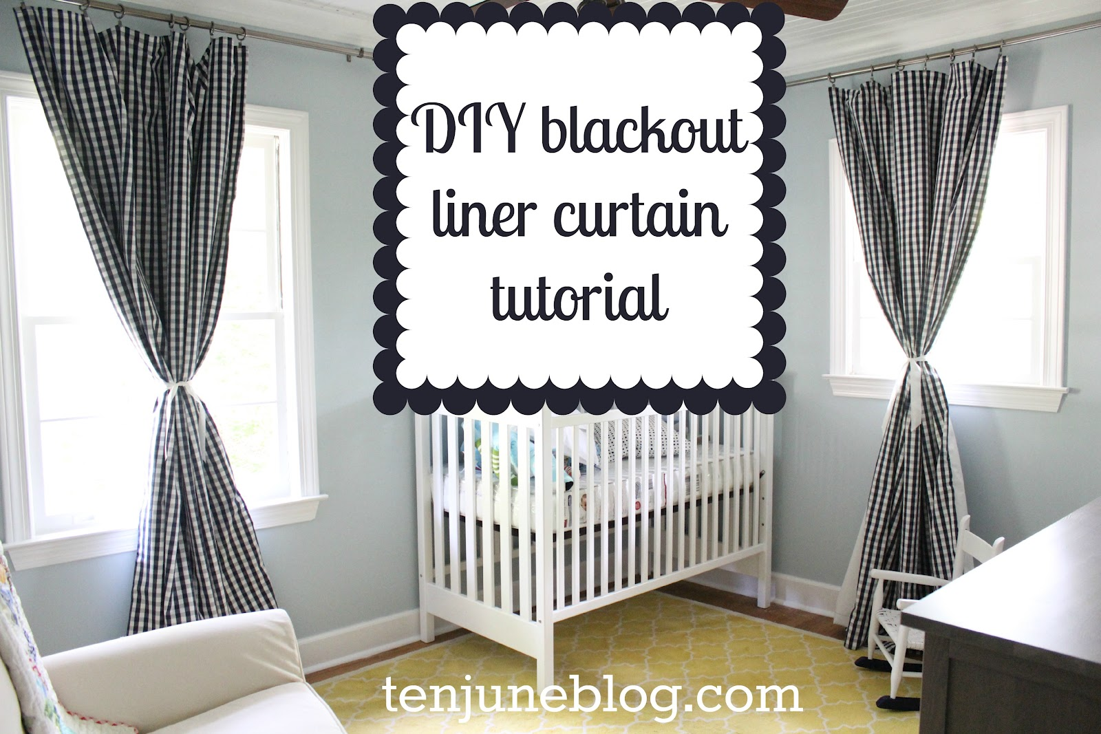 Black White Pattern Of Blackout Curtains Nursery With Crib
