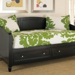Black Wooden Daybeds with Storage And Green White Floral Theme