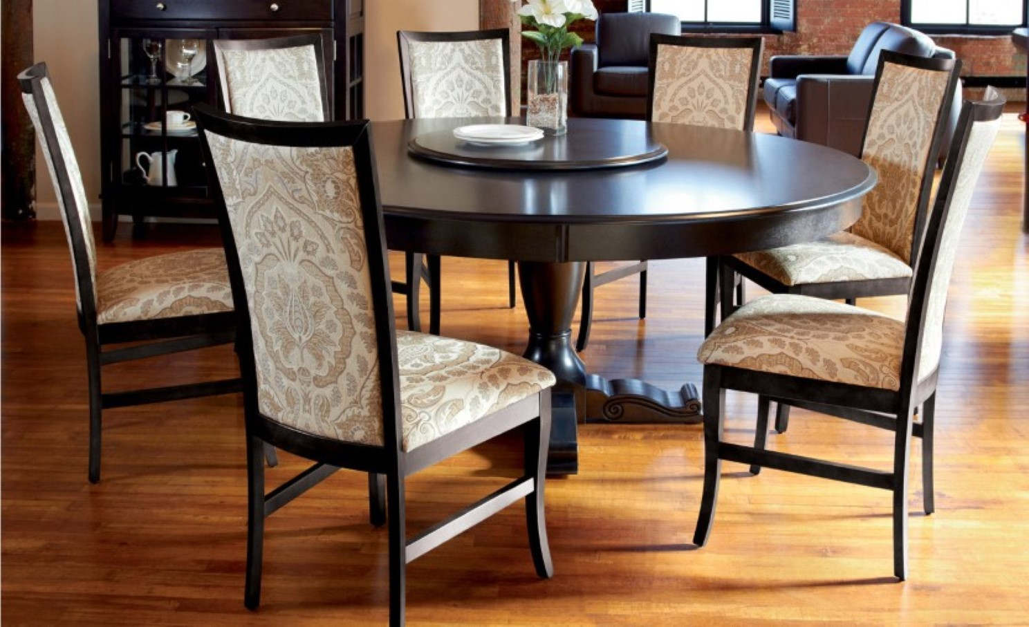 Black Wooden Espresso Round Dining Table Set With Leaf And Six Chairs