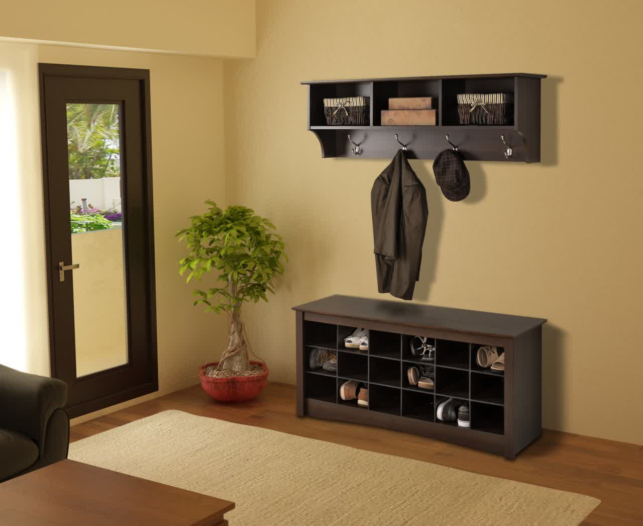 Black Coated Wood Shoes Storage With Bench In Entryway Area Wall Mounted  Shelf With Hangers In