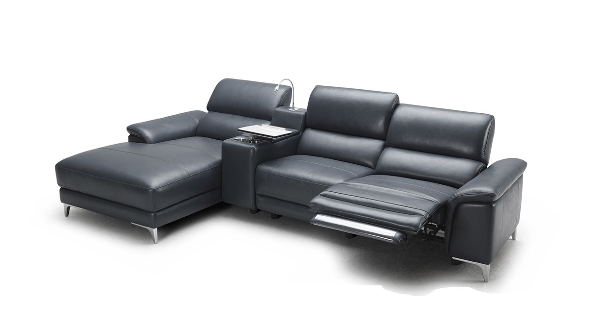 Black Leather Reclining Sectional With Armrests And Single Chaise