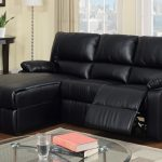 Black leather reclining sectional with chaise and armrests