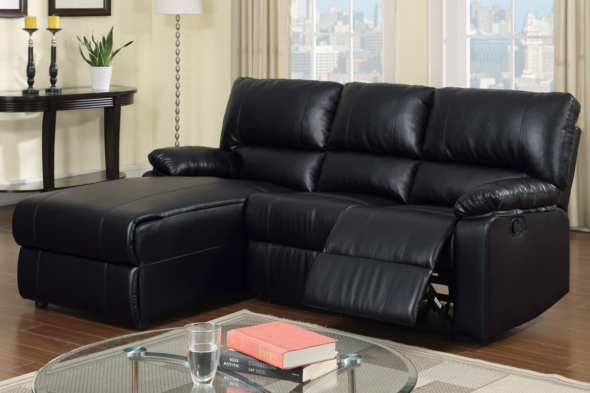 Black leather reclining sectional products homesfeed for Black sectional with chaise