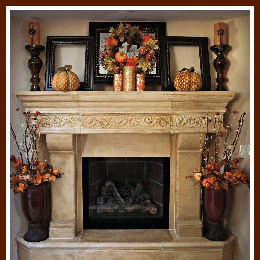 Brick Rustic Mantel Decor For Classic Fireplace With Frame And Candles Part 27