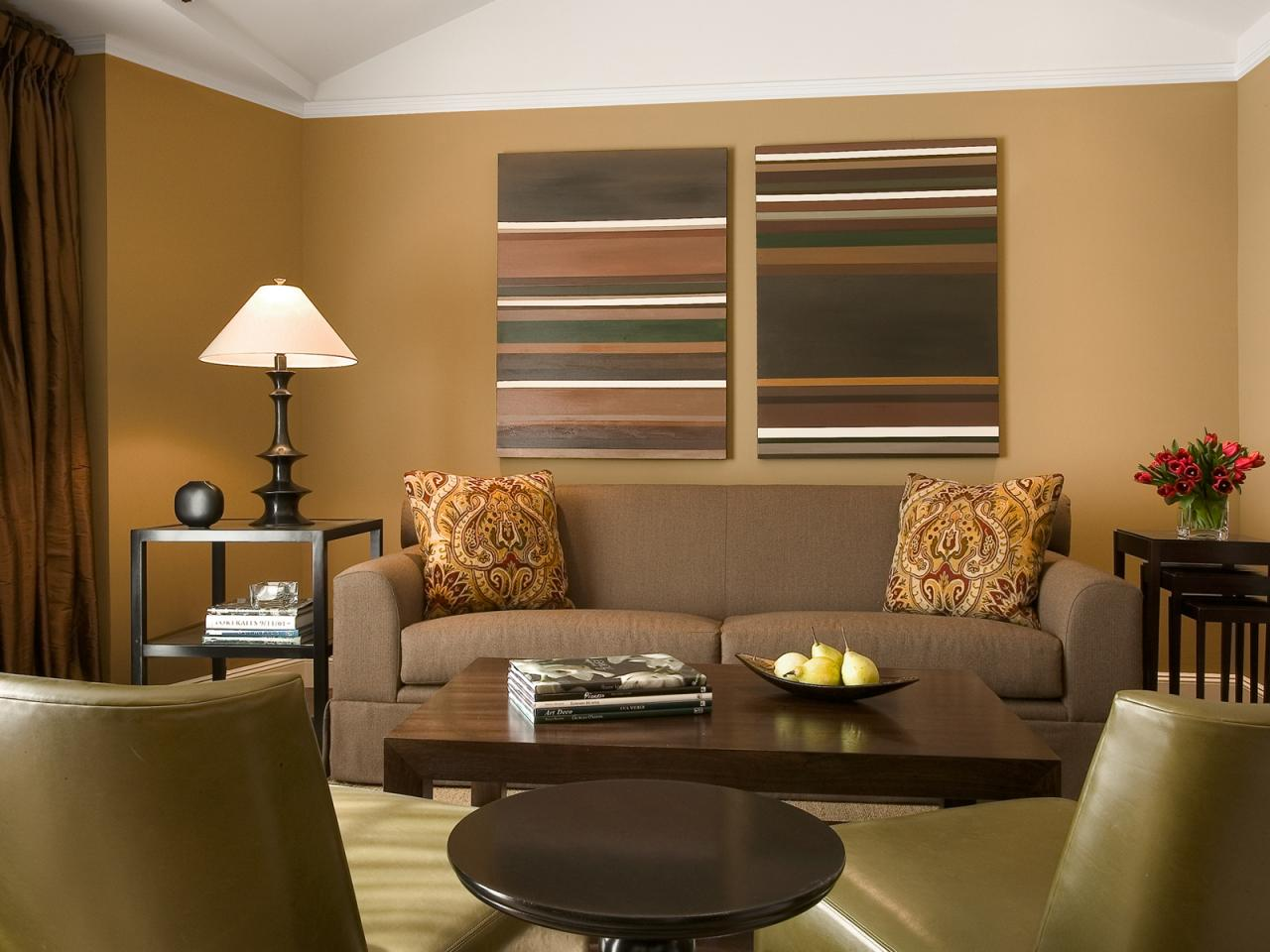 Brown Living Room Colour Schemes For Wall Frames Furniture And Wooden Table