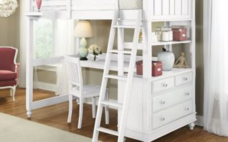 Bunk unit with desk and stairs in white a corner reading chair large white bedroom rug idea