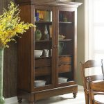 Casual Wooden Storage Cabinet With Glass Doors