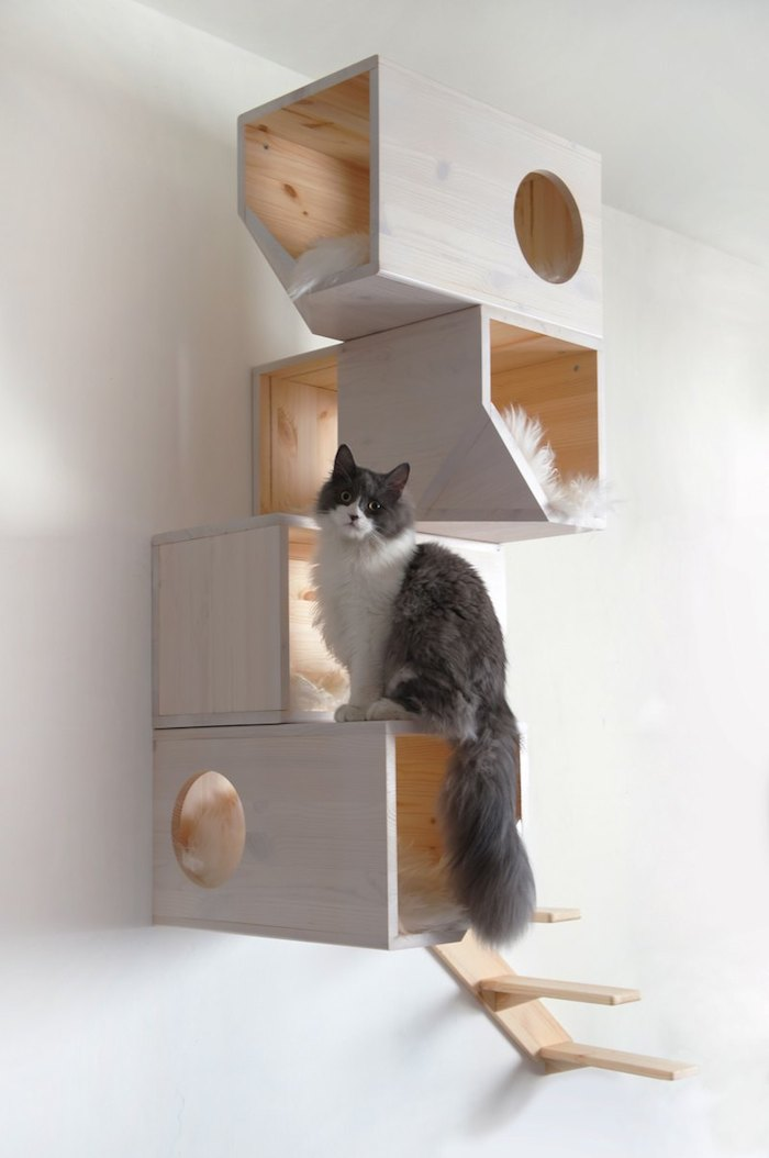 Catissa Wall Mounted Contemporary Cat Furniture Made Of Wood In White Scheme