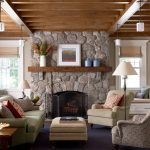 Charming Living Room With Exposing Beams And Rustic Mantel Decor For Stone Fireplace