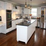 Cheap Kitchen Makeovers On A Budget With White Kitchen Cabinet Set And Triple Small Chandeliers