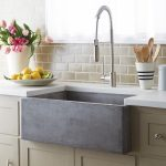 Concrete farm sink for kitchen with filtered water faucet white countertop