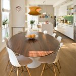 Contemporary Design Of Dining Room With Ikea Tulip Table Wooden On Table Top And Unique Light