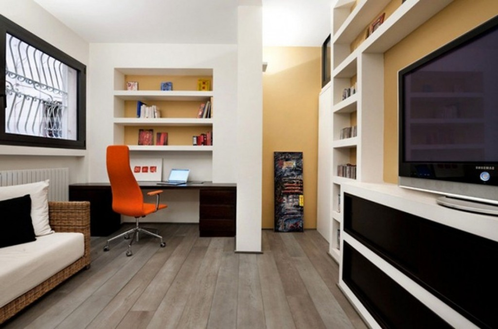 contemporary home office ideas with white wall and shelves and orange chair