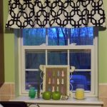 Contemporary Window Valances With Black White Pattern Design And Green Wall Paint