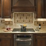 Contemporary Wood Vent Hood With Metal Grey Stove And Pretty Backsplash Tile