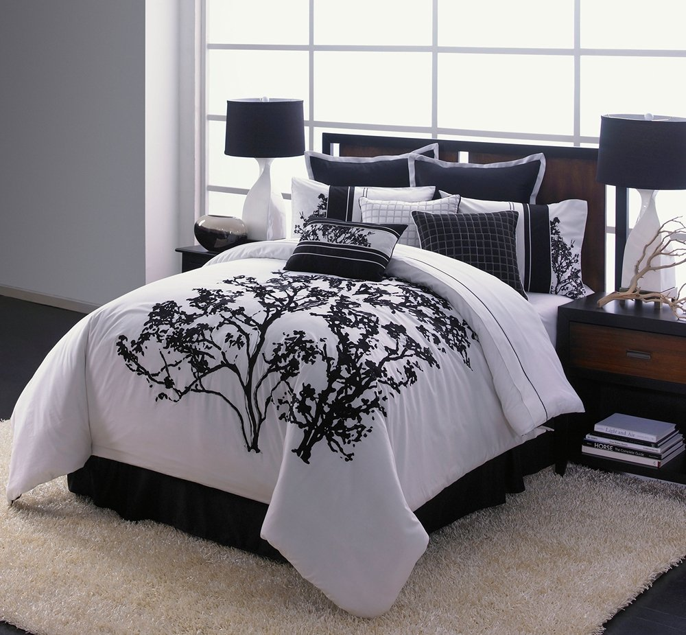 cool comforter sets  homesfeed - cool comforter sets with tree design and black white color style