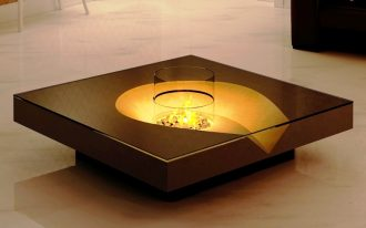 Cool and marvelous center table with modern firepit at the center of table