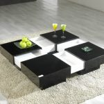 Cool and modern center table in black and white tone of colors smooth white wool area rug