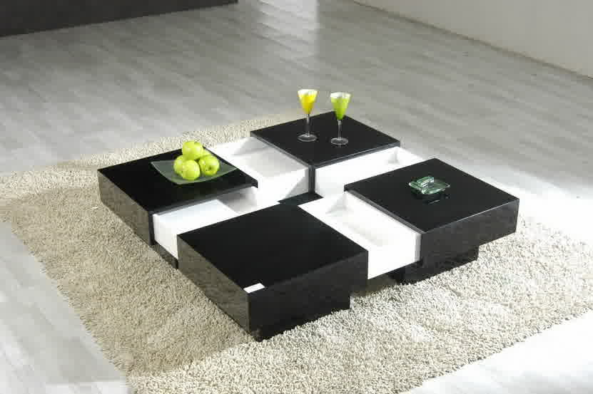 Cool And Modern Center Table In Black And White Tone Of Colors Smooth White  Wool Area