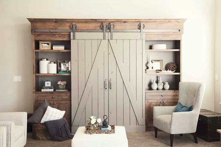 Cool Rustic Entertainment Center With Door And Shelves Plus Base Storage An  Armchair In Grey White