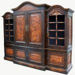 Cool vintage wood entertainment center with door and storage units