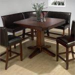 Corner Dark Leather Bench Kitchen Table Set Idea