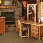 Country Design Of Rustic Office Desk With Stone Fireplace And Floor Light