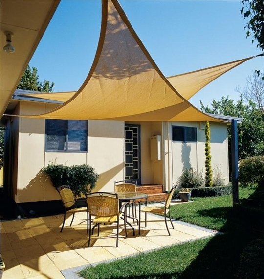 Cream Shade Sail DIY For Home Front Yard A Set Of Furniture Consisting Of  Round Glass