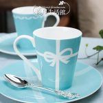 Creative Ceramic Cup Of Tiffany Wedding Gifts With Spoon