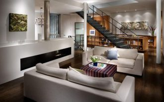 Creative Modern Of Living Room Design Inspiration With White Sofa And Long Modern Fireplace