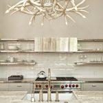 Creative White Antler Chandelier Design In Kitchen Above Sink