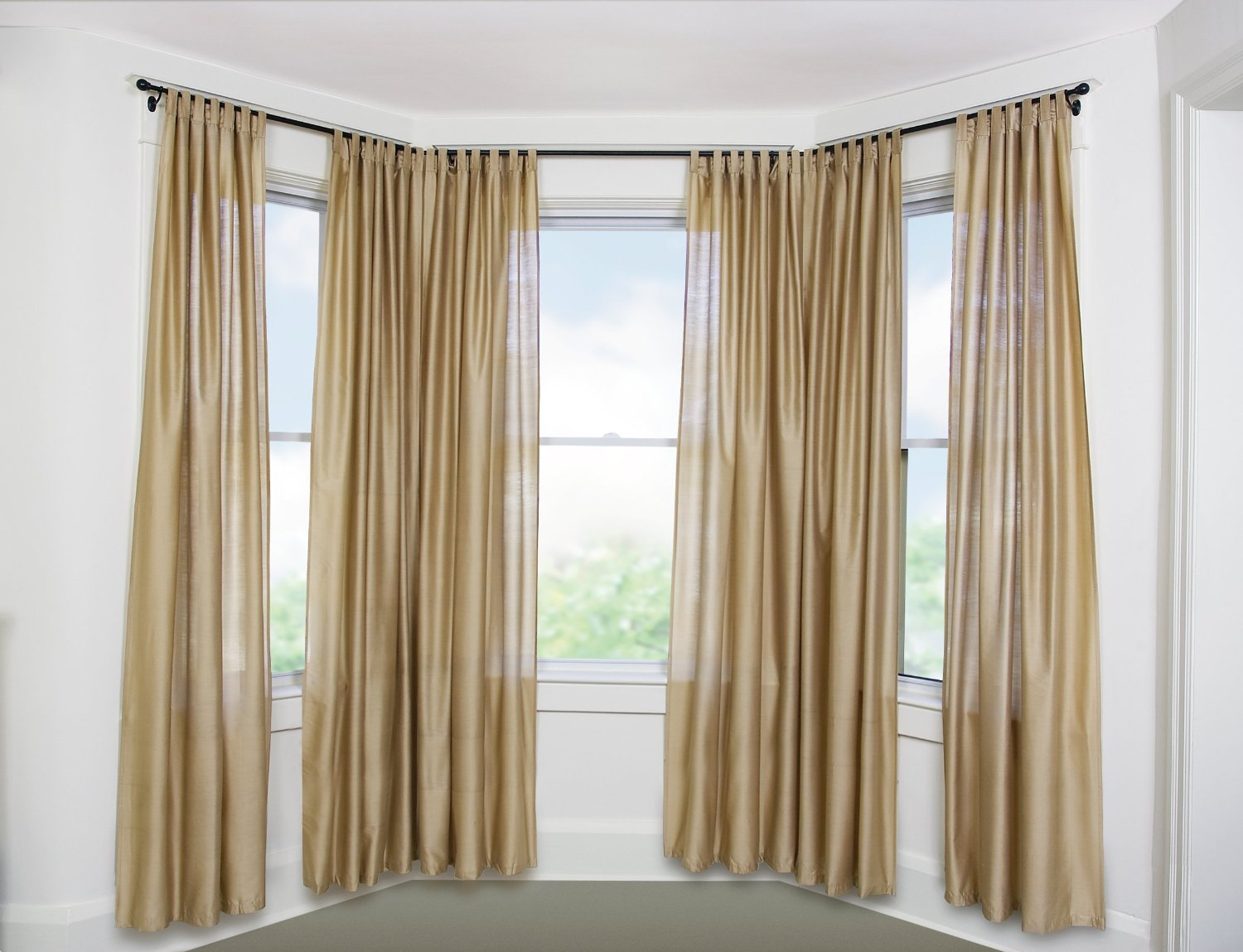 Bay Window Curtains : Curtain rods for bay windows homesfeed