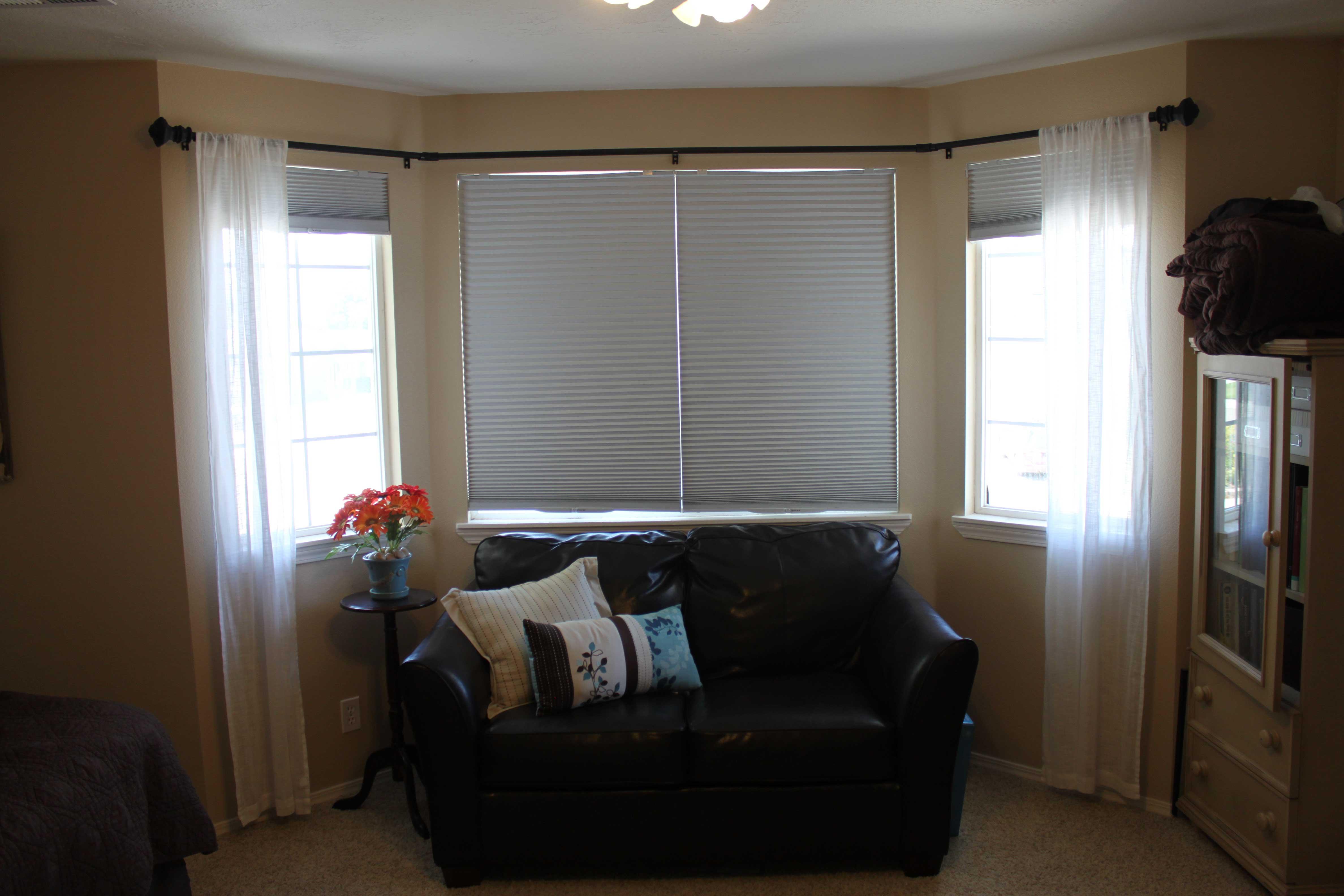 curtain rods for bay windows homesfeed curtains and shades with curtain rods for bay windows near leather sofa