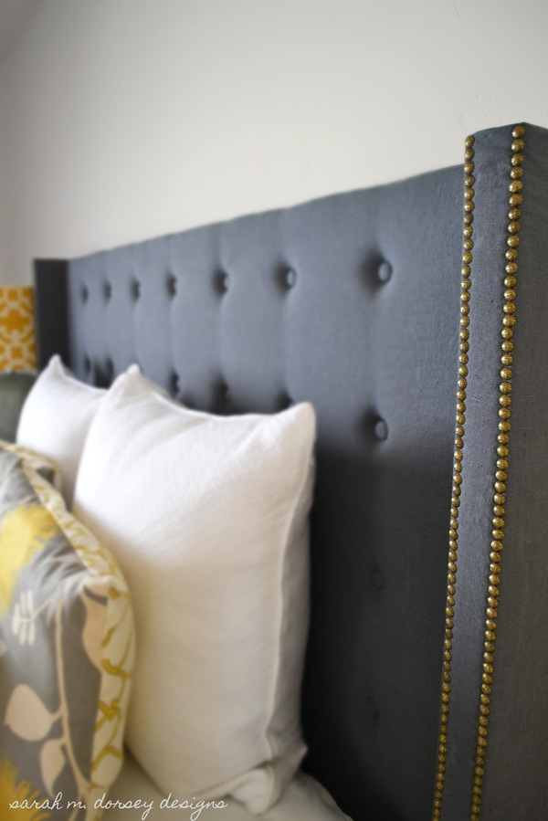 Upholstered headboard with nailhead trim homesfeed diy grey upholstered headboard with nailhead trim and decorative pillows solutioingenieria Image collections