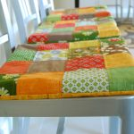 DIY Cute Dining Room Seat Cushions With Colorful Fabrics Decorated On The Top Of White Wooden Chairs