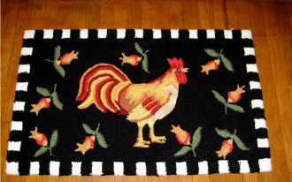 Dark Black And White Of Rooster Kitchen Rugs Design