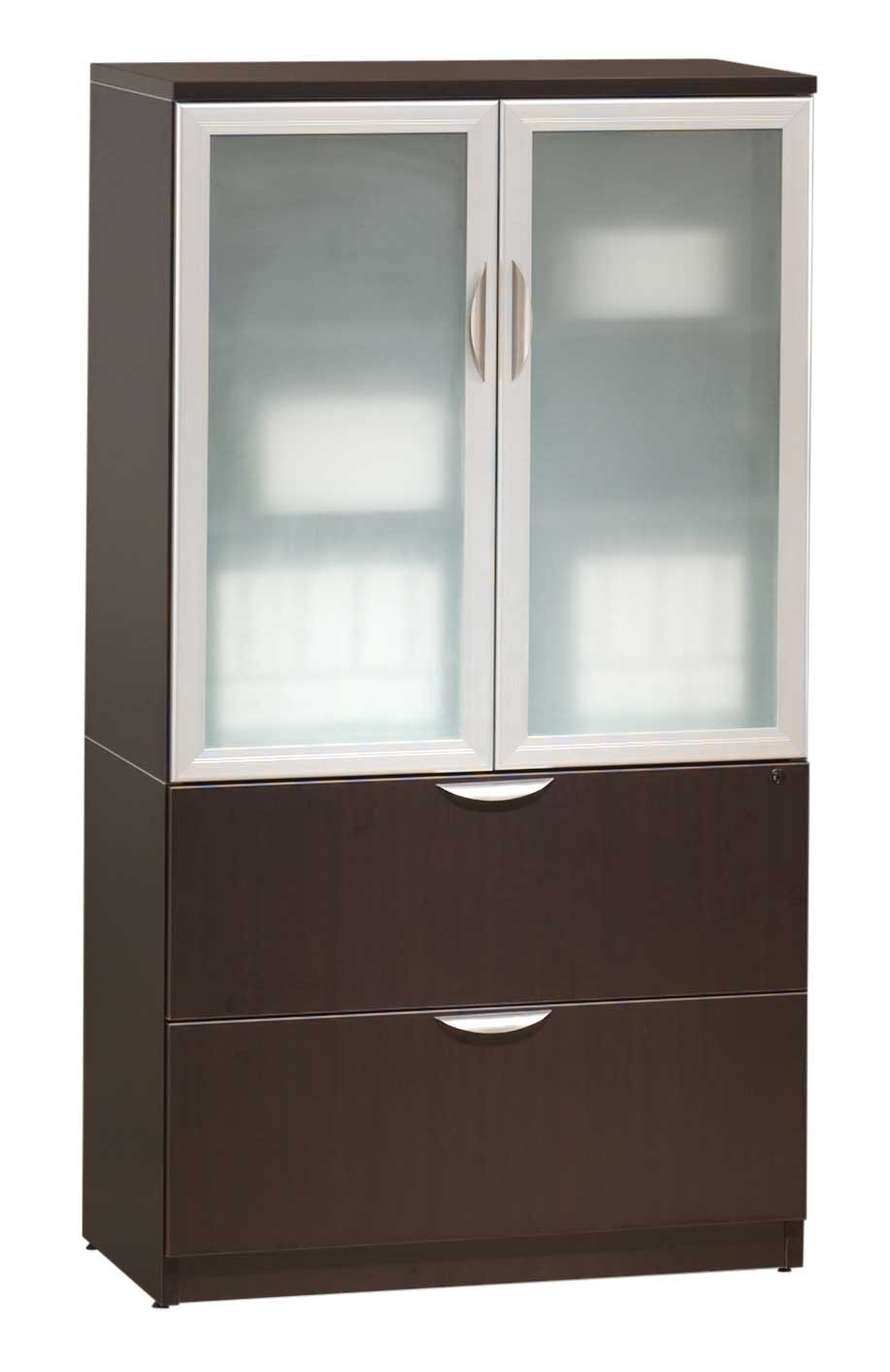 Dark Wooden Storage Cabinet With Glass Doors And Drawers