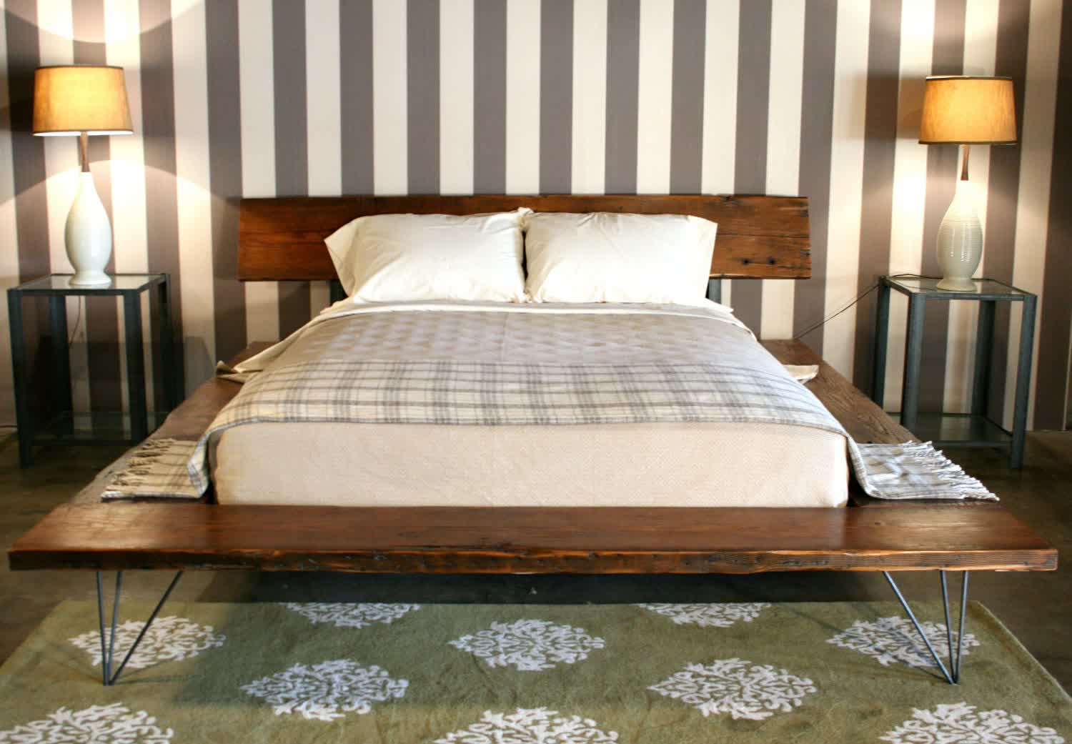 Dark And Solid Wood Platform Bed Frame Idea With Hair Pin Legs Model A Pair  Of