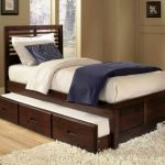 Dark brown painted wood trundle with headboard and additional bed plus drawers white shaggy bedroom rug