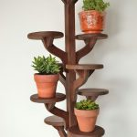 Dark Brown Wood Stands For Indoor Decorative Plants With Round Tops