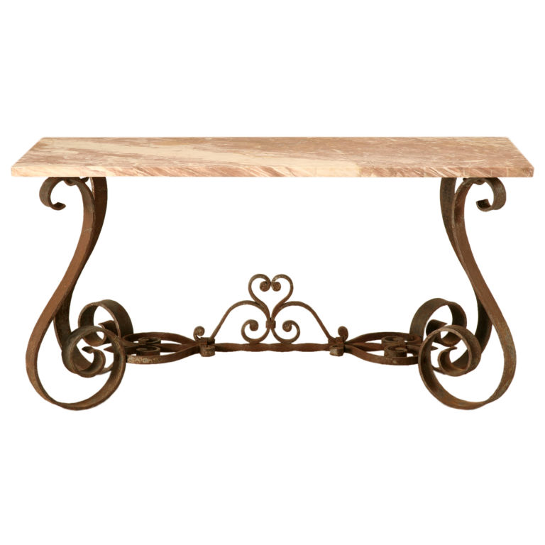 Wrought iron sofa table homesfeed for Wrought iron sofa table base