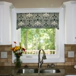 Decorative Contemporary Window Valances With White Kitchen Cabinet Set And Sink