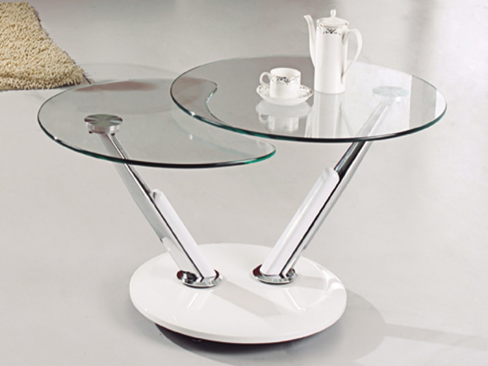 Double Small Glass Coffee Tables With Iron Base
