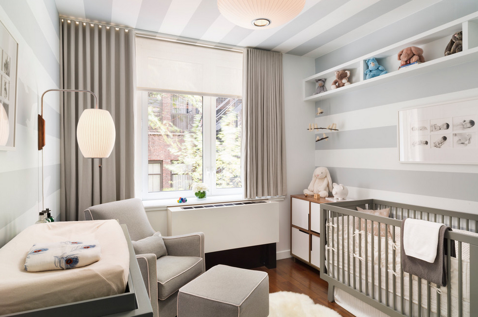 elegant blackout curtains nursery with grey baby crib white wallpaper and grey armchair - Blackout Shades For Baby Room