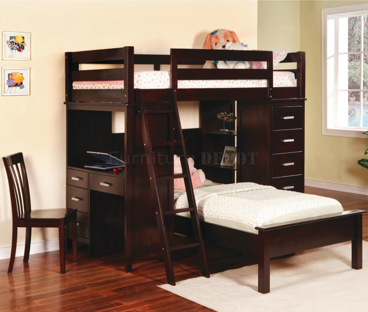 l with larger bed plans cherry beds jay bunk in desk furniture stair blueprints diy loft view