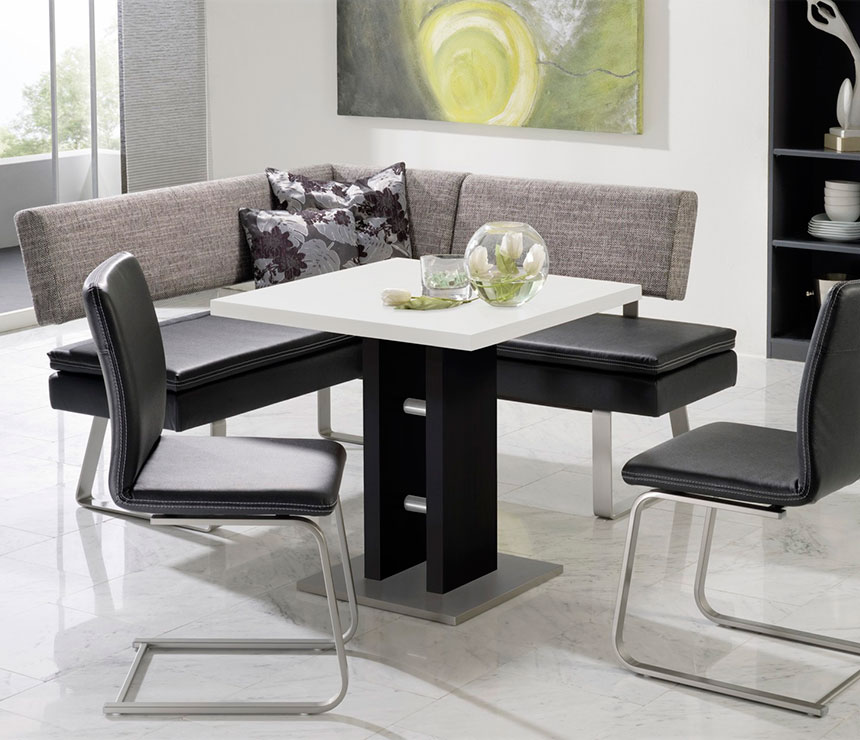 Elegant Corner Bench Kitchen Set With Grey Backrest And Black Leather  Seating Modern White Top Table