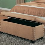 End Of Bed Storage Bench For Bedroom With Fur Rug
