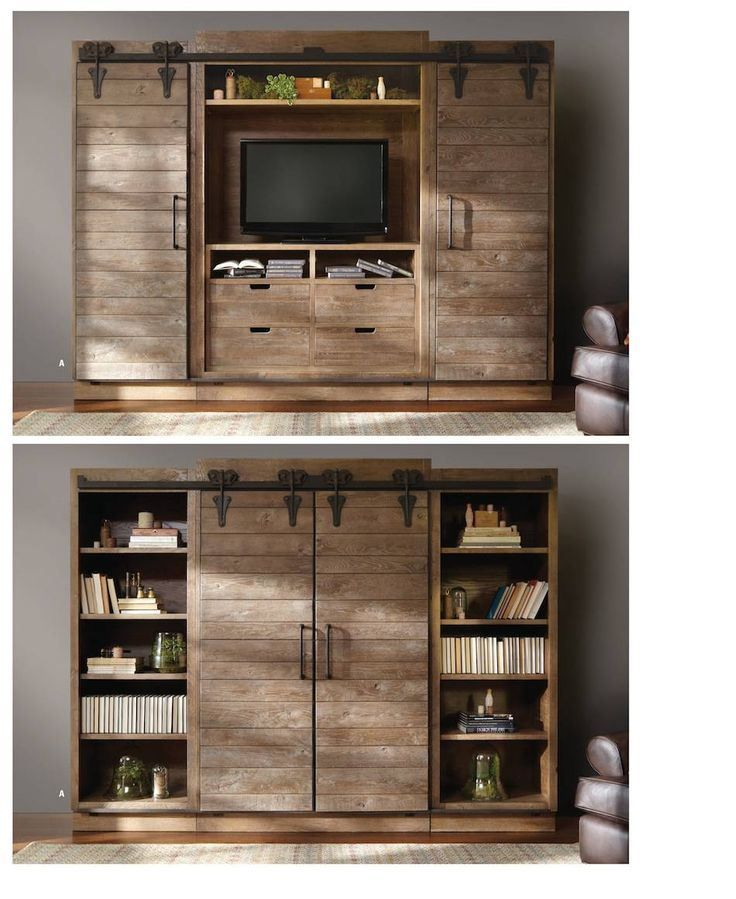 Genial Entertainment Center With Door And Bookshelves In Vintage Style