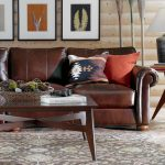 Ethan Allen Leather Furniture Sectional Sofa With Small Coffee Table
