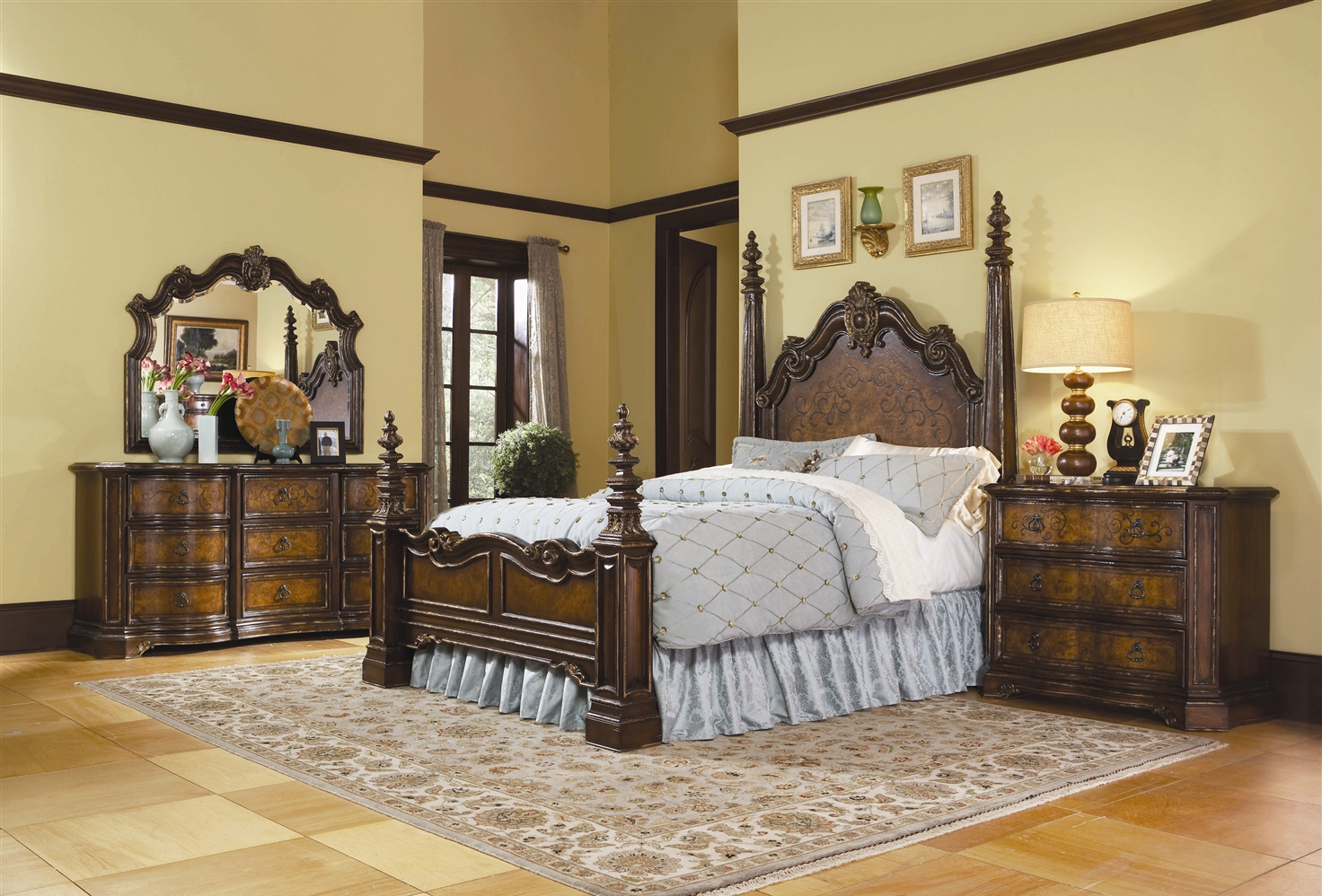 Nice Fancy Bed Frame With Classic Styled Headboard And Footboard Dark Brown  Painted Wood Bedside Table With